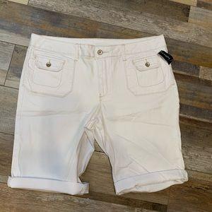 Faded Glory White Bermuda Denim Shorts